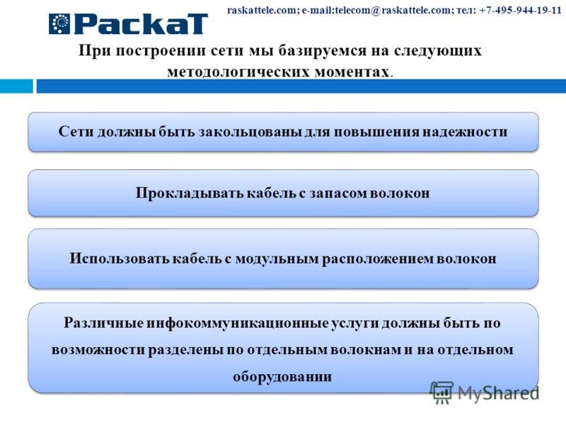 При построении сети мы базируемся на следующих методологических моментах. raskattele.com; e-mail:telecom@raskattele.com; тел: +7-495-944-19-11 Сети должны быть закольцованы для повышения надежности Прокладывать кабель с запасом волокон Использовать к