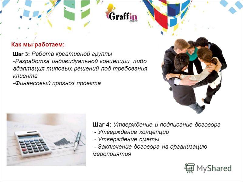 Как мы работаем: Шаг 3: Работа креативной группы -Разработка индивидуальной концепции, либо адаптация типовых решений под требования клиента -Финансовый прогноз проекта Шаг 4: Утверждение и подписание договора - Утверждение концепции - Утверждение см