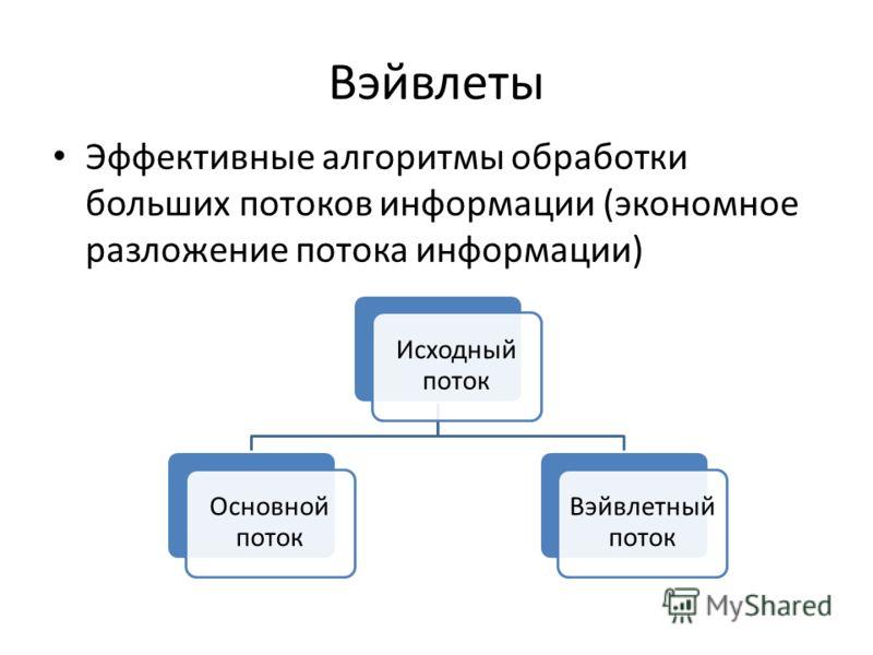 Вэйвлеты Эффективные алгоритмы обработки больших потоков информации (экономное разложение потока информации) Исходный поток Основной поток Вэйвлетный поток