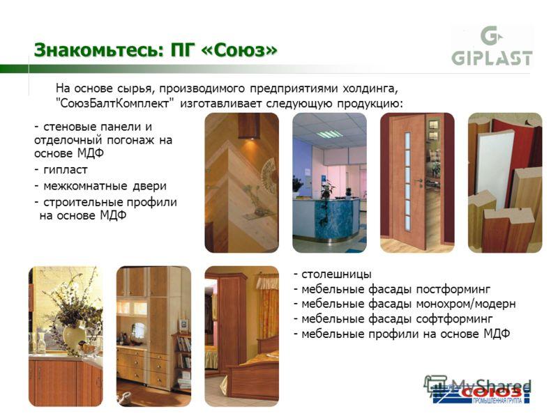 - стеновые панели и отделочный погонаж на основе МДФ - гипласт - межкомнатные двери - строительные профили на основе МДФ На основе сырья, производимого предприятиями холдинга,