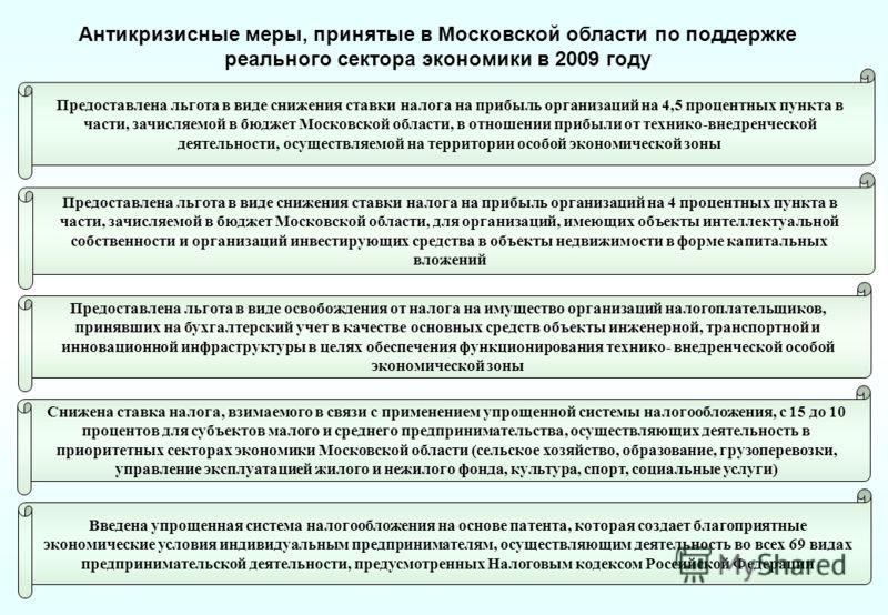 Предоставлена льгота в виде снижения ставки налога на прибыль организаций на 4 процентных пункта в части, зачисляемой в бюджет Московской области, для организаций, имеющих объекты интеллектуальной собственности и организаций инвестирующих средства в