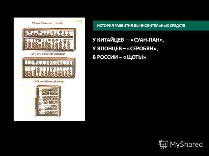 У КИТАЙЦЕВ – «СУАН-ПАН», У ЯПОНЦЕВ – «СЕРОБЯН», В РОССИИ – «ЩОТЫ». ИСТОРИЯ РАЗВИТИЯ ВЫЧИСЛИТЕЛЬНЫХ СРЕДСТВ