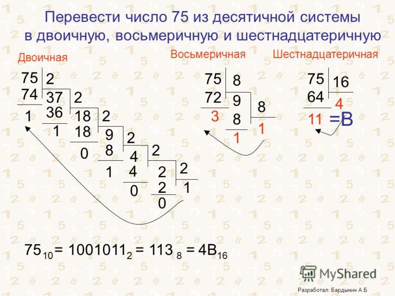 Перевести число 75 из десятичной системы в двоичную, восьмеричную и шестнадцатеричную 75 2 37 74 1 2 18 36 1 2 9 18 0 2 4 8 1 2 2 4 0 2 12 0 75 8 9 72 3 8 1 8 1 75 16 4 64 11 75 = 10 1001011 = 2 113 = 8 4B4B 16 Двоичная ВосьмеричнаяШестнадцатеричная