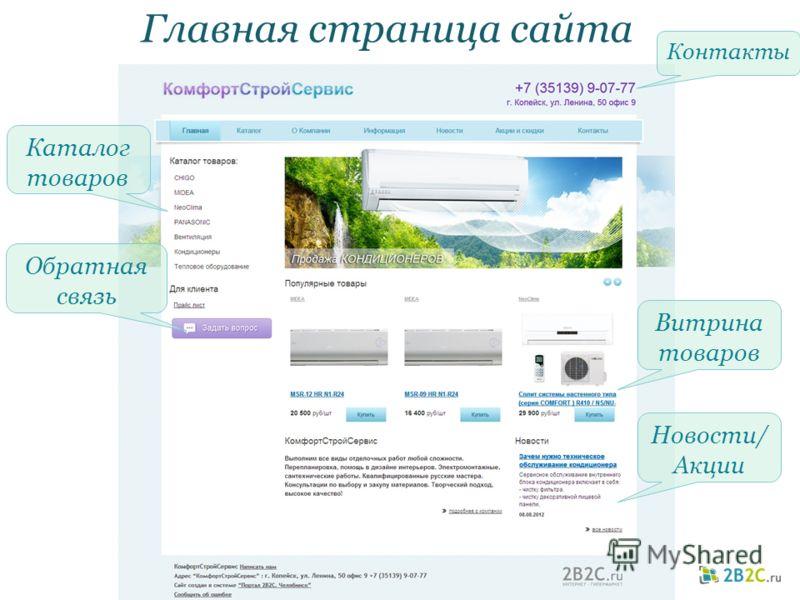 Главная страница сайта Контакты Витрина товаров Новости/ Акции Каталог товаров Обратная связь