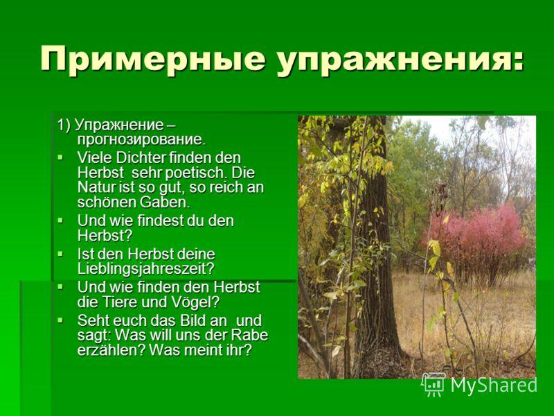 Примерные упражнения: 1) Упражнение – прогнозирование. Viele Dichter finden den Herbst sehr poetisch. Die Natur ist so gut, so reich an schönen Gaben. Viele Dichter finden den Herbst sehr poetisch. Die Natur ist so gut, so reich an schönen Gaben. Und