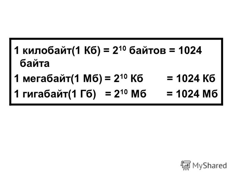 1 килобайт(1 Кб) = 2 10 байтов = 1024 байта 1 мегабайт(1 Мб) = 2 10 Кб = 1024 Кб 1 гигабайт(1 Гб) = 2 10 Мб = 1024 Мб