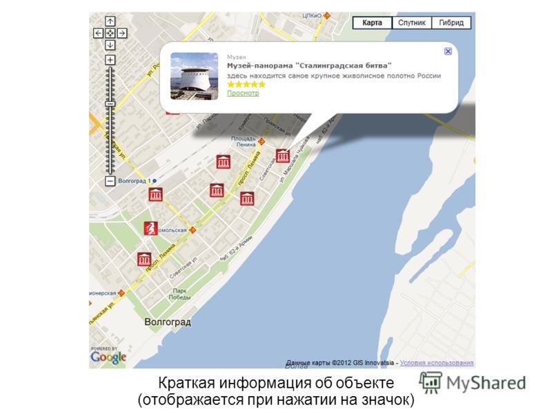 Краткая информация об объекте (отображается при нажатии на значок)