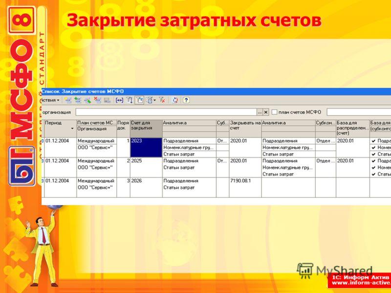 1С: Информ Актив www.inform-active.ru Закрытие затратных счетов