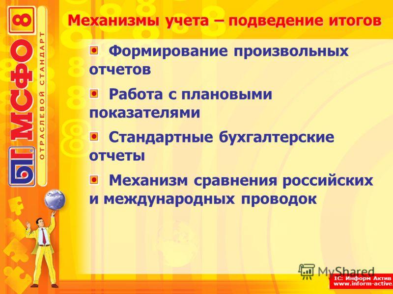 1С: Информ Актив www.inform-active.ru Механизмы учета – подведение итогов Формирование произвольных отчетов Работа с плановыми показателями Стандартные бухгалтерские отчеты Механизм сравнения российских и международных проводок