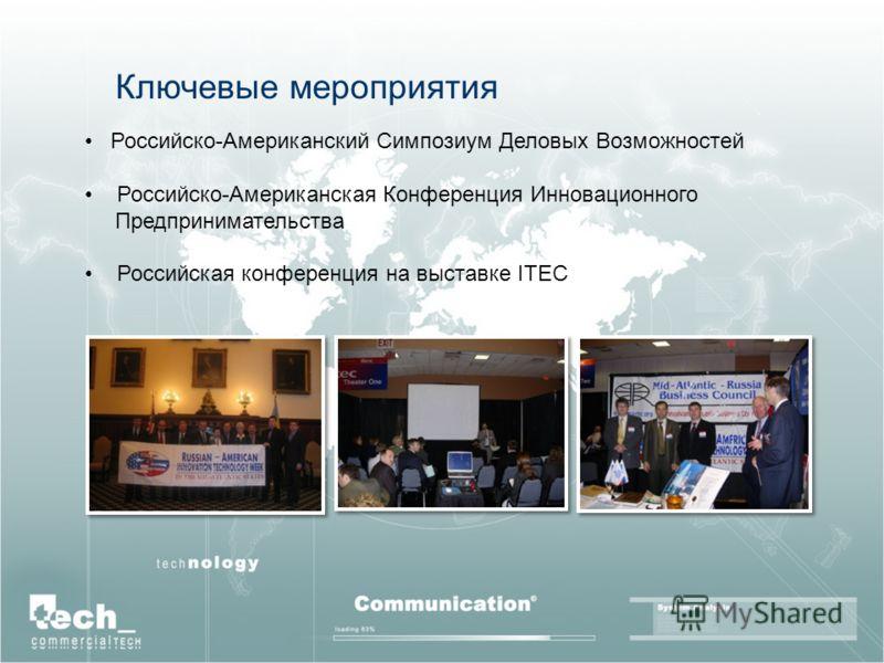 Ключевые мероприятия Российско-Американский Симпозиум Деловых Возможностей Российско-Американская Конференция Инновационного Предпринимательства Российская конференция на выставке ITEC