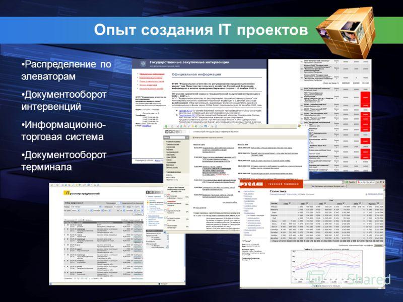 Опыт создания IT проектов Распределение по элеваторам Документооборот интервенций Информационно- торговая система Документооборот терминала
