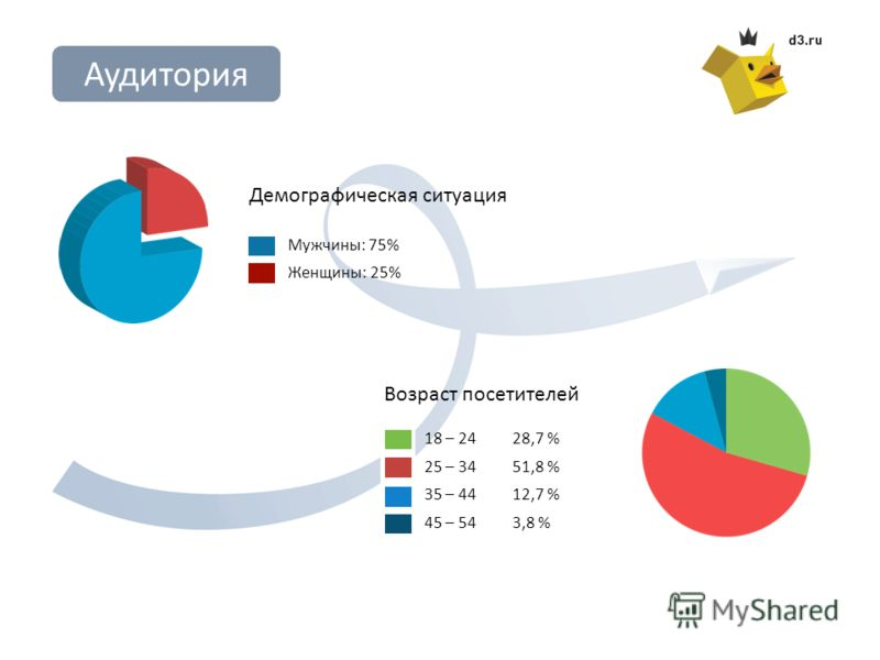 Мужчины: 75% Женщины: 25% Демографическая ситуация Аудитория 18 – 2428,7 % 25 – 3451,8 % 35 – 4412,7 % 45 – 543,8 % Возраст посетителей