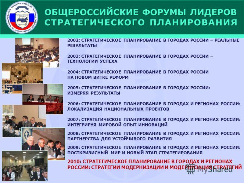 ОБЩЕРОССИЙСКИЕ ФОРУМЫ ЛИДЕРОВ СТРАТЕГИЧЕСКОГО ПЛАНИРОВАНИЯ 2002: СТРАТЕГИЧЕСКОЕ ПЛАНИРОВАНИЕ В ГОРОДАХ РОССИИ – РЕАЛЬНЫЕ РЕЗУЛЬТАТЫ 2003: СТРАТЕГИЧЕСКОЕ ПЛАНИРОВАНИЕ В ГОРОДАХ РОССИИ – ТЕХНОЛОГИИ УСПЕХА 2004: СТРАТЕГИЧЕСКОЕ ПЛАНИРОВАНИЕ В ГОРОДАХ РОС