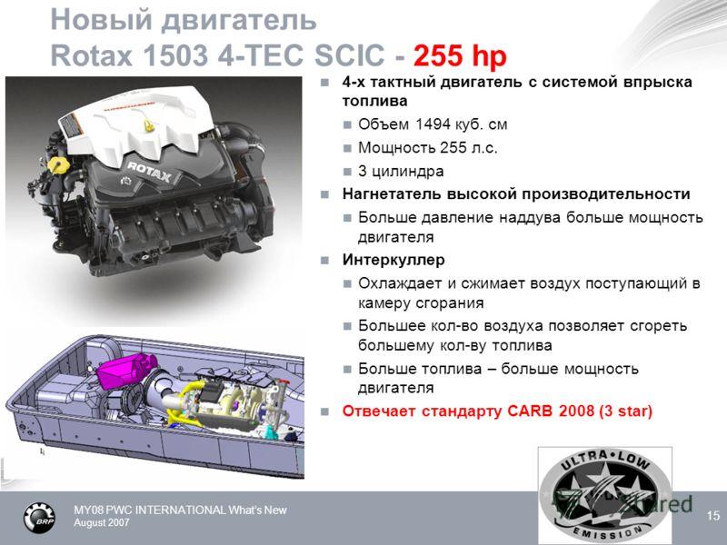 MY08 PWC INTERNATIONAL Whats New August 2007 15 Новый двигатель Rotax 1503 4-TEC SCIC - 255 hp 4-х тактный двигатель с системой впрыска топлива Объем 1494 куб. см Мощность 255 л.с. 3 цилиндра Нагнетатель высокой производительности Больше давление над