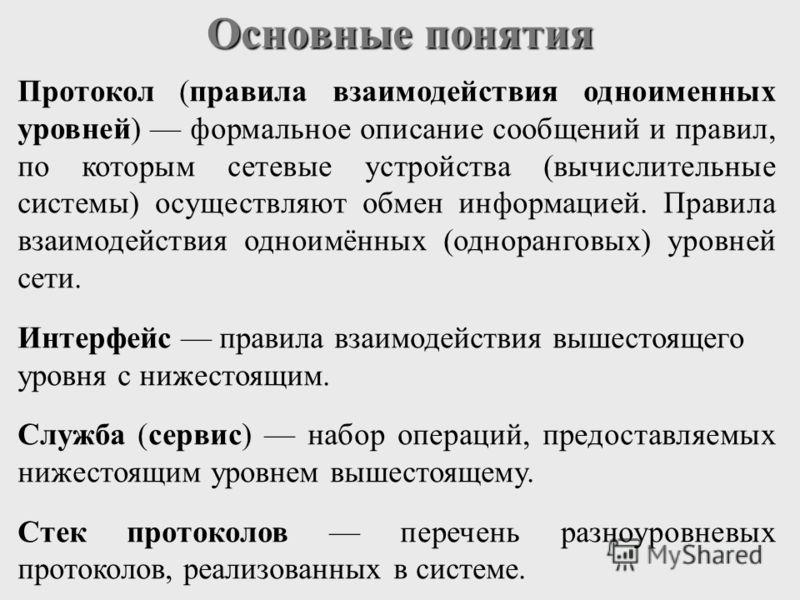 Основные понятия Протокол (правила взаимодействия одноименных уровней) формальное описание сообщений и правил, по которым сетевые устройства (вычислительные системы) осуществляют обмен информацией. Правила взаимодействия одноимённых (одноранговых) ур