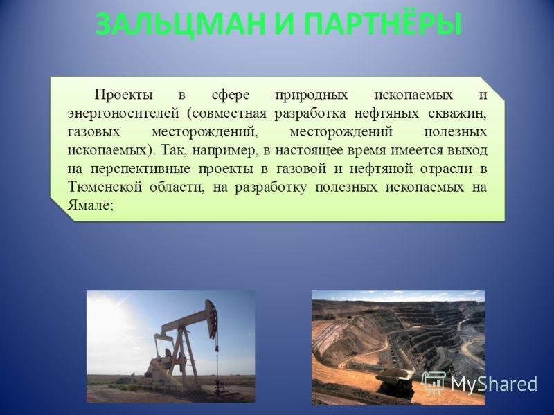 ЗАЛЬЦМАН И ПАРТНЁРЫ Проекты в сфере природных ископаемых и энергоносителей (совместная разработка нефтяных скважин, газовых месторождений, месторождений полезных ископаемых). Так, например, в настоящее время имеется выход на перспективные проекты в г