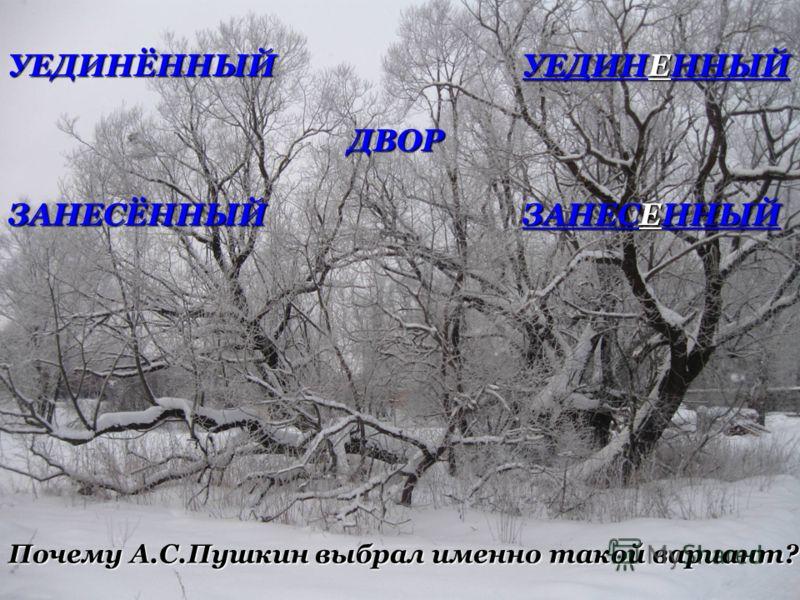 УЕДИНЁННЫЙ УЕДИНЕННЫЙ ДВОР ДВОР ЗАНЕСЁННЫЙ ЗАНЕСЕННЫЙ Почему А.С.Пушкин выбрал именно такой вариант?