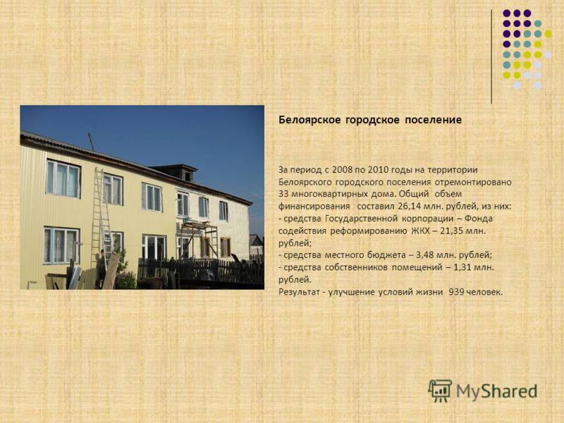 Белоярское городское поселение За период с 2008 по 2010 годы на территории Белоярского городского поселения отремонтировано 33 многоквартирных дома. Общий объем финансирования составил 26,14 млн. рублей, из них: - средства Государственной корпорации