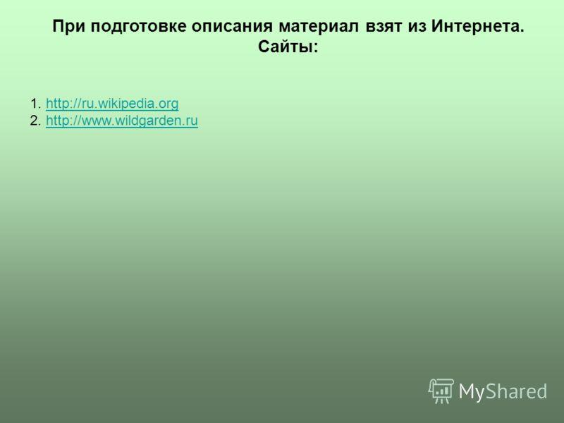 1. http://ru.wikipedia.orghttp://ru.wikipedia.org 2. http://www.wildgarden.ruhttp://www.wildgarden.ru При подготовке описания материал взят из Интернета. Сайты: