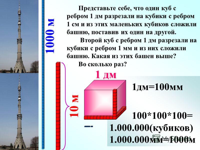 1дм=10см 10*10*10= 1000(кубиков) 1дм=100мм 100*100*100= 1.000.000(кубиков) 1.000.000мм=1000м Представьте себе, что один куб с ребром 1 дм разрезали на кубики с ребром 1 см и из этих маленьких кубиков сложили башню, поставив их один на другой. Второй