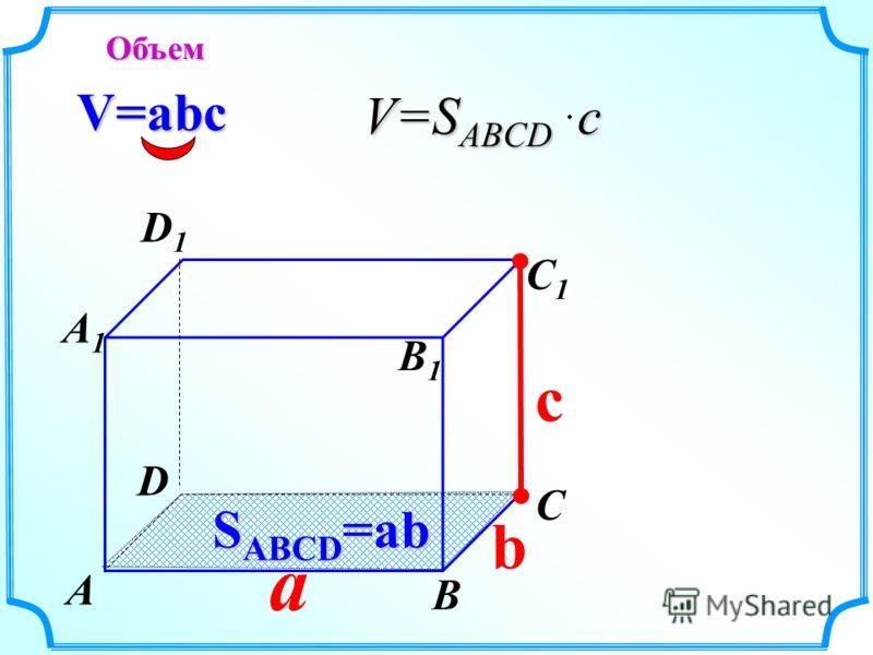 a c V=abc S ABCD =ab b Объем А В С D А1А1 D1D1 С1С1 В1В1 V=S ABCD c