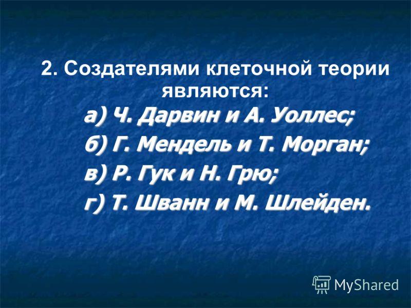 2. Создателями клеточной теории являются: а) Ч. Дарвин и А. Уоллес; б) Г. Мендель и Т. Морган; в) Р. Гук и Н. Грю; г) Т. Шванн и М. Шлейден.