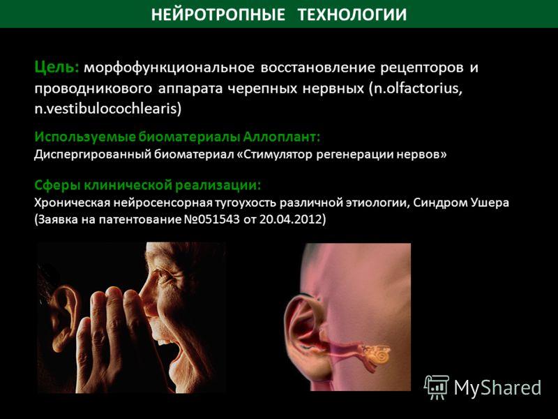 НЕЙРОТРОПНЫЕ ТЕХНОЛОГИИ Используемые биоматериалы Аллоплант: Диспергированный биоматериал «Стимулятор регенерации нервов» Сферы клинической реализации: Хроническая нейросенсорная тугоухость различной этиологии, Синдром Ушера (Заявка на патентование 0