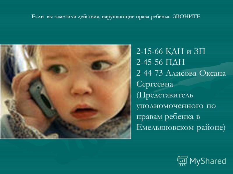 Если вы заметили действия, нарушающие права ребенка- ЗВОНИТЕ 2-15-66 КДН и ЗП 2-45-56 ПДН 2-44-73 Алисова Оксана Сергеевна (Представитель уполномоченного по правам ребенка в Емельяновском районе)
