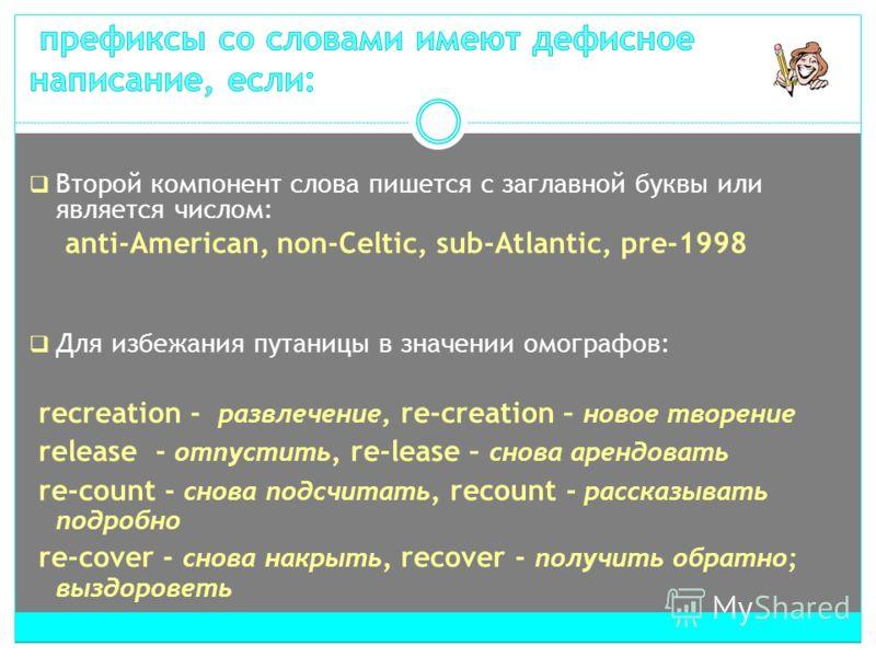 Второй компонент слова пишется с заглавной буквы или является числом: anti-American, non-Celtic, sub-Atlantic, pre-1998 Для избежания путаницы в значении омографов: recreation - развлечение, re-creation – новое творение release - отпустить, re-lease