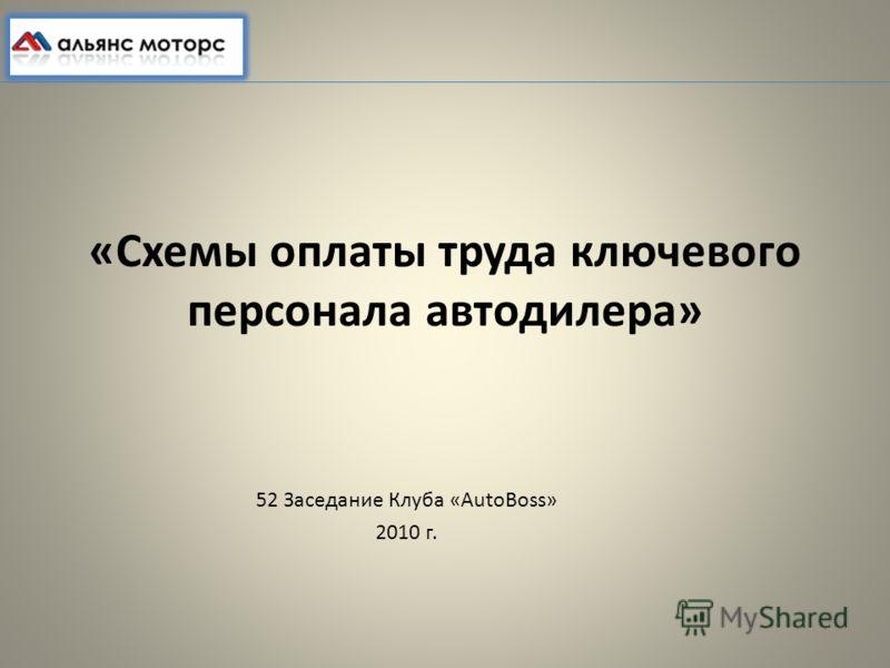 «Схемы оплаты труда ключевого персонала автодилера» 52 Заседание Клуба «AutoBoss» 2010 г.