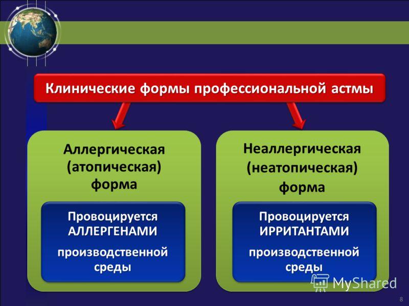Аллергическая (атопическая) форма Провоцируется АЛЛЕРГЕНАМИ производственной среды Неаллергическая (неатопическая) форма Провоцируется ИРРИТАНТАМИ производственной среды Клинические формы профессиональной астмы 8
