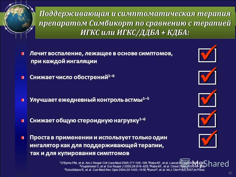 Поддерживающая и симптоматическая терапия препаратом Симбикорт по сравнению с терапией ИГКС или ИГКС/ДДБА + КДБА: Лечит воспаление, лежащее в основе симптомов, при каждой ингаляции при каждой ингаляции Снижает число обострений 1–6 Улучшает ежедневный