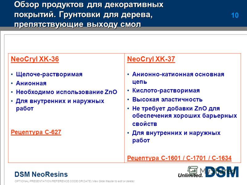 DSM NeoResins OPTIONAL PRESENTATION REFERENCE CODE OR DATE (View Slide Master to edit or delete) 9 NeoCryl TX-204 NeoCryl TX204 Вязкость по Брукфильду 6-60 rpm мПа*с стабильной Перемешанной 60000->10000 23000-9260 Глянец 20 °-60°64 - 88 Твердость по