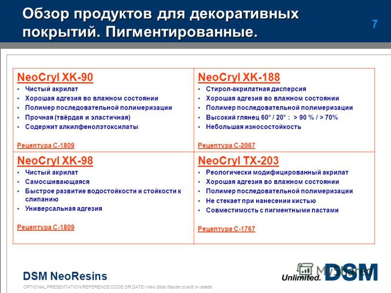 DSM NeoResins OPTIONAL PRESENTATION REFERENCE CODE OR DATE (View Slide Master to edit or delete) 6 250 мкм влажной пленки (Newton) XK-90XK-98XK-230 Сосна (23°C/50%) 10 Н14 Н9 Н Сосна (4°C/40%) 4 Н11 Н6 Н Красное дерево (23°C/50%) 13 Н16 Н13 Н Красное