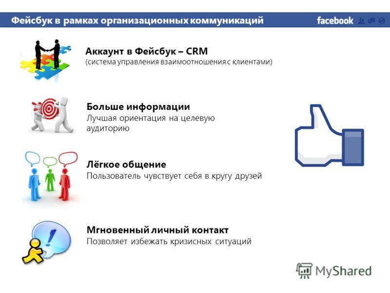 Аккаунт в Фейсбук – CRM (система управления взаимоотношения с клиентами) Больше информации Лучшая ориентация на целевую аудиторию Лёгкое общение Пользователь чувствует себя в кругу друзей Мгновенный личный контакт Позволяет избежать кризисных ситуаци