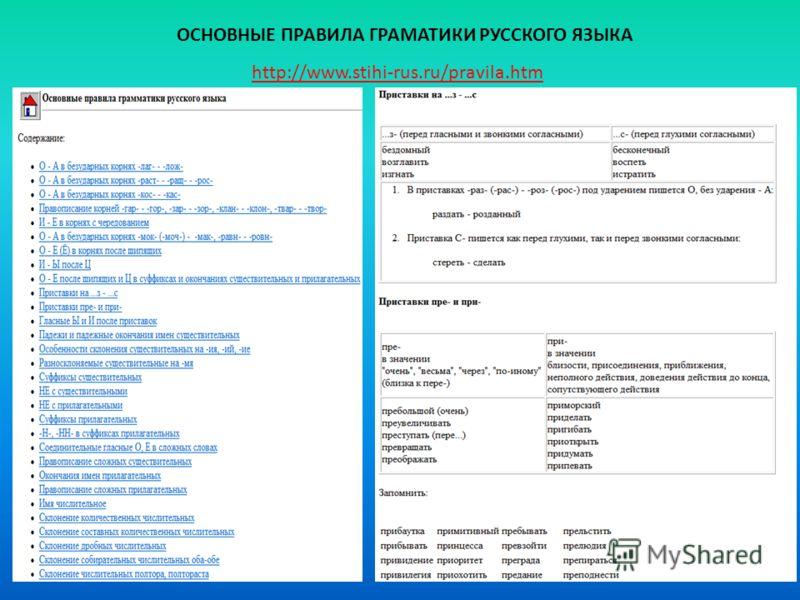 http://www.stihi-rus.ru/pravila.htm ОСНОВНЫЕ ПРАВИЛА ГРАМАТИКИ РУССКОГО ЯЗЫКА