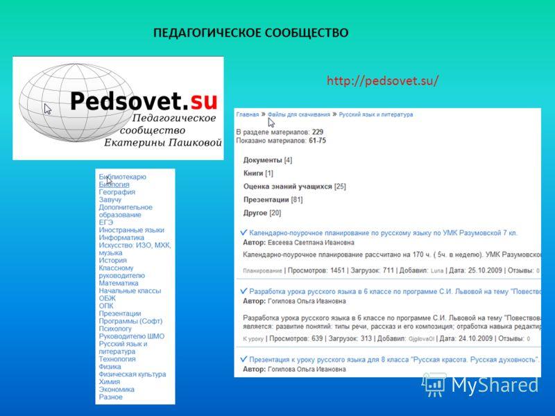 http://pedsovet.su/ ПЕДАГОГИЧЕСКОЕ СООБЩЕСТВО