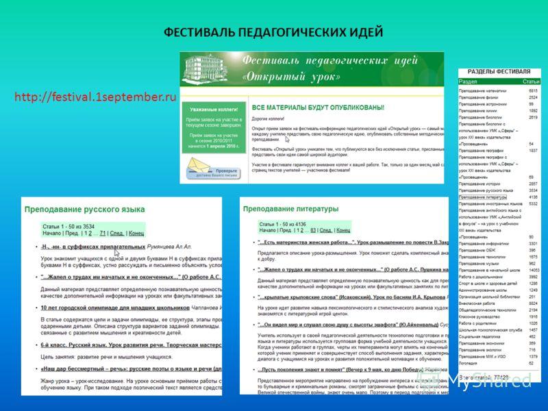 http://festival.1september.ru ФЕСТИВАЛЬ ПЕДАГОГИЧЕСКИХ ИДЕЙ