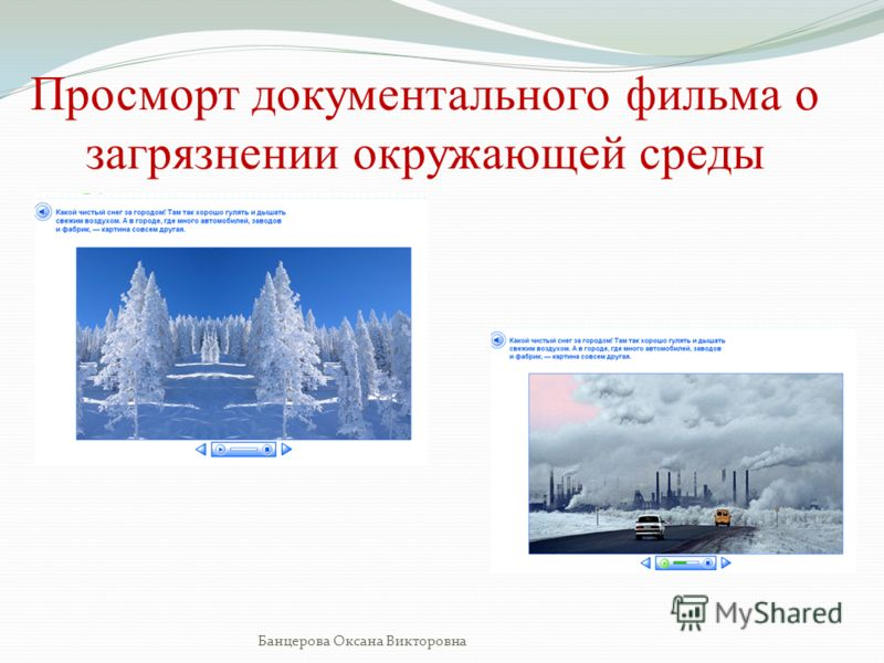 Просморт документального фильма о загрязнении окружающей среды Банцерова Оксана Викторовна