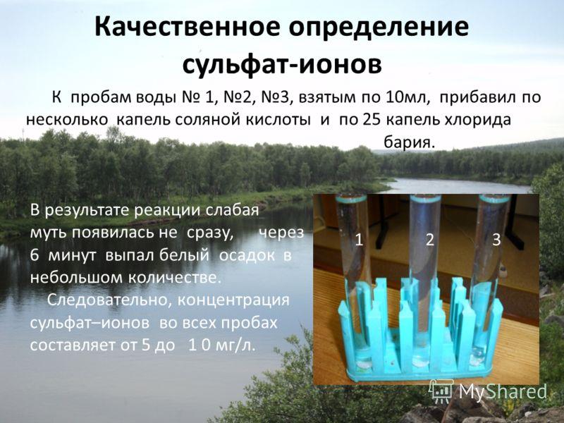 Качественное определение сульфат-ионов К пробам воды 1, 2, 3, взятым по 10мл, прибавил по несколько капель соляной кислоты и по 25 капель хлорида бария. В результате реакции слабая муть появилась не сразу, через 6 минут выпал белый осадок в небольшом