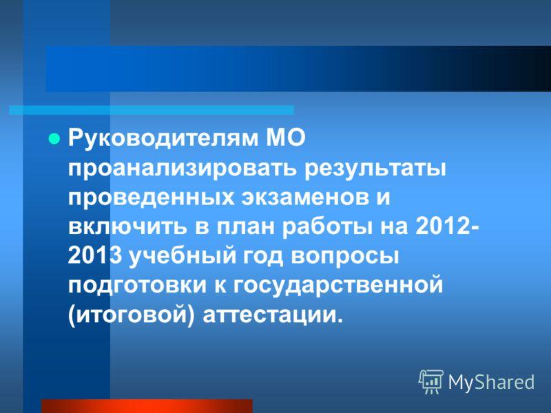 Руководителям МО проанализировать результаты проведенных экзаменов и включить в план работы на 2012- 2013 учебный год вопросы подготовки к государственной (итоговой) аттестации.