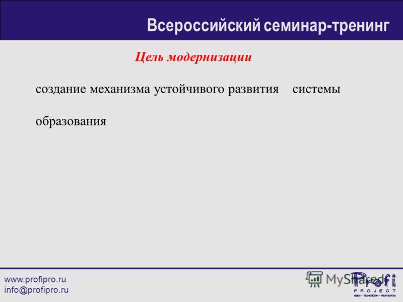 Цель модернизации создание механизма устойчивого развития системы образования www.profipro.ru info@profipro.ru Всероссийский семинар-тренинг