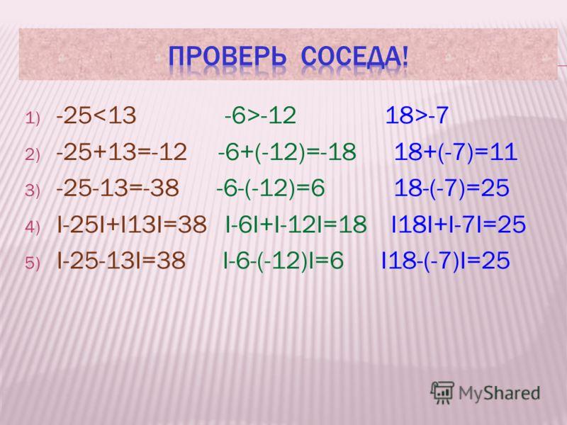 РАБОТА В ПАРАХ Из данных чисел выбрать любые два и предложить соседу по парте: -25 и 13, -6 и -12, 18 и -7 Выполните задания: Сравнить эти числа Найти сумму Найти разность Найти сумму модулей этих чисел Найти модуль разности этих чисел