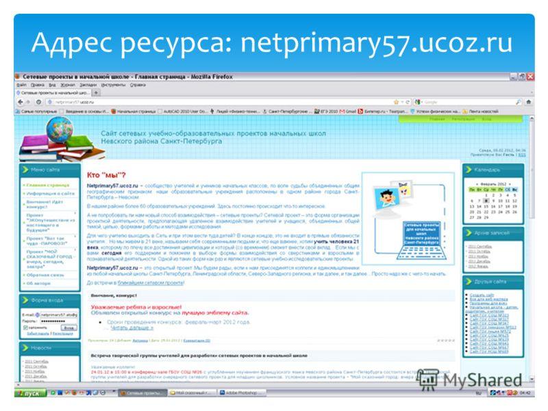 Адрес ресурса: netprimary57.ucoz.ru