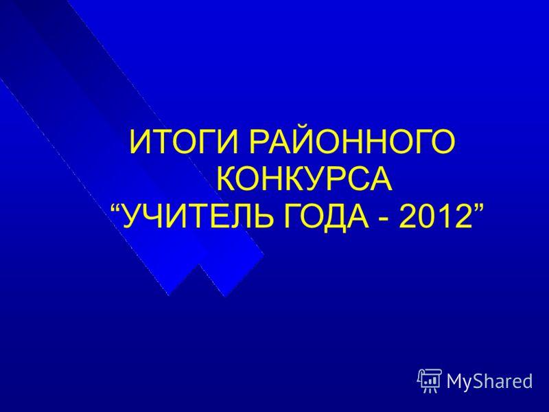 ИТОГИ РАЙОННОГО КОНКУРСА УЧИТЕЛЬ ГОДА - 2012
