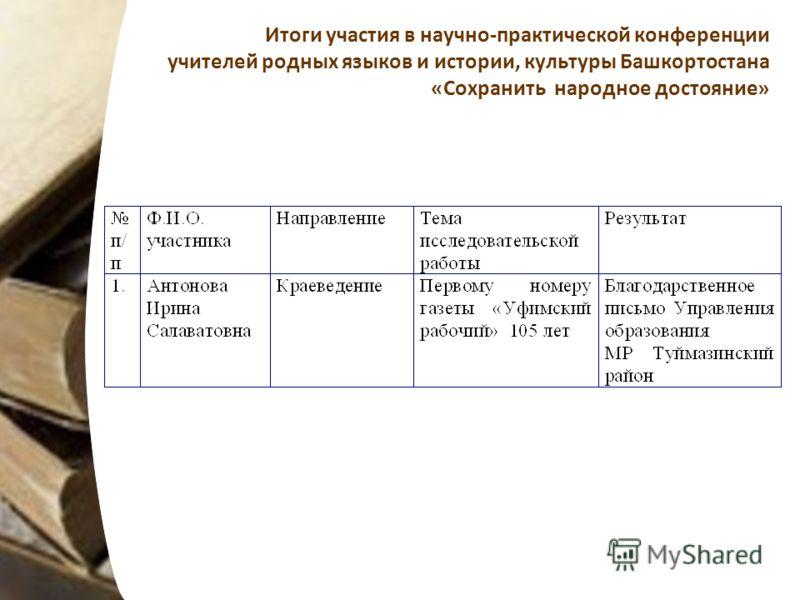 Итоги участия в научно-практической конференции учителей родных языков и истории, культуры Башкортостана «Сохранить народное достояние»