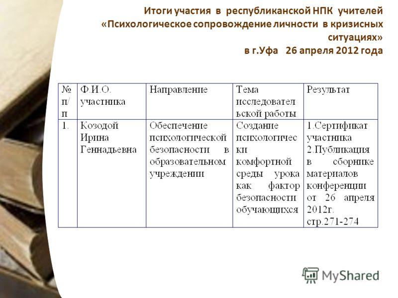 Итоги участия в республиканской НПК учителей «Психологическое сопровождение личности в кризисных ситуациях» в г.Уфа 26 апреля 2012 года