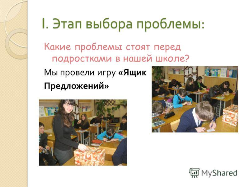 I. Этап выбора проблемы : Какие проблемы стоят перед подростками в нашей школе? Мы провели игру « Ящик Предложений »
