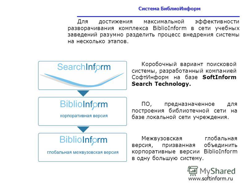 Для достижения максимальной эффективности разворачивания комплекса BiblioInform в сети учебных заведений разумно разделить процесс внедрения системы на несколько этапов. Коробочный вариант поисковой системы, разработанный компанией СофтИнформ на базе
