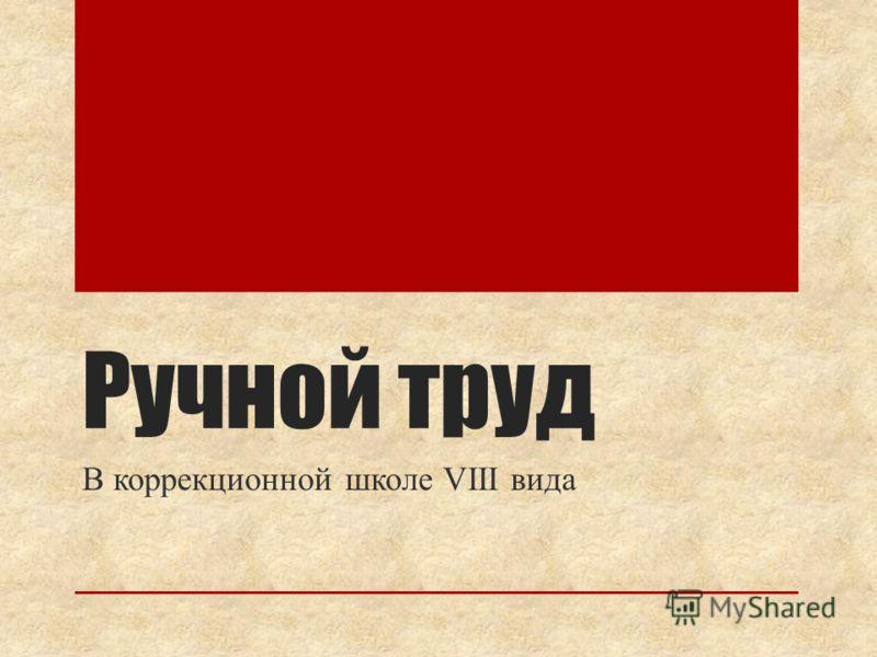 Ручной труд В коррекционной школе VIII вида